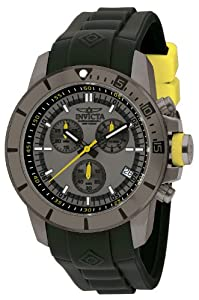Invicta Men's Quartz Watch with Grey Dial Chronograph Display and Black PU Strap 13934