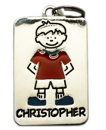 "Christopher ~ Metal Personalized Name Tag Charm By Ganz ~ Rectangle ~ 1"" X 1/2"""