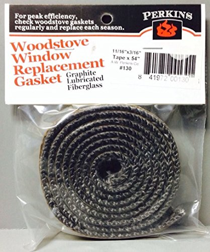 AWP130 Self Stick Adhesive Gasket Wood Pellet Stove Window Glass Door Black Tape (Gas Fireplace Glass Gasket compare prices)