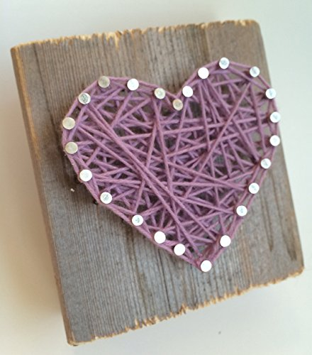 Rustic lavender string art heart block - A unique gift for Weddings, Anniversaries, Birthdays, Valentine's Day, Christmas, new baby girl and just because.