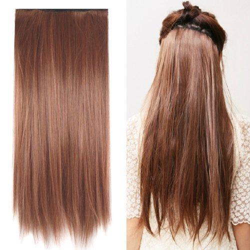 """SODIAL(R) Capelli estensione clip-in lisci in marrone chiaro da 23"""" in moda"""