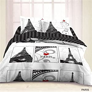 Housse de couette 200x200 2 taies paris for Amazon housse de couette