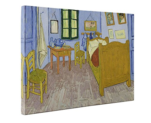 Niwo Art - The Bedroom (Third Version), by Vincent van Gogh - Oil painting Reproductions - Giclee Canvas Prints Wall Art for Home Decor, Stretched and Framed Ready to Hang (16 x 20 x 0.75 Inch)