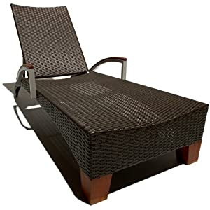 Strathwood Camano All Weather Wicker Sun Lounger Chair Brown