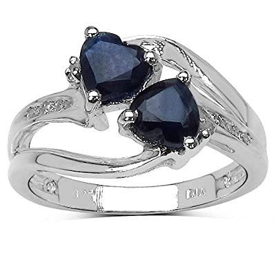 The Sapphire Ring Collection: Sterling Silver 2 Hearts Sapphire Engagement Ring with Diamond Shoulders