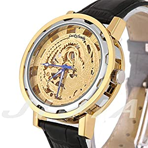Gift In Box Sliver Gold Phoenix Skeleton Dial Black Genuine Leather Atomatic Mechanical Men's Watch G8119-04