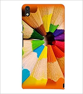 PrintDhaba Coloured Pencils D-2719 Back Case Cover for HUAWEI ASCEND P6 (Multi-Coloured)