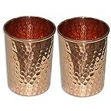 Set Of 2, Copper Glass For Ayurvedic Health Benefits Drinkware Hammered Tumbler