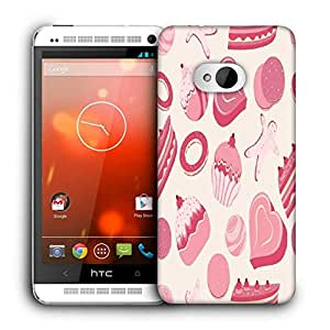 Snoogg Pink Cakes Pattern Printed Protective Phone Back Case Cover For HTC One M7