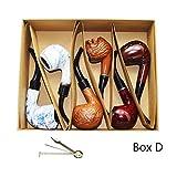 Smoking pipe, set of 6pcs, smoking pipe gift box, smoking pipe of steel & acrylic, tobacco pipe (Box D) (Tamaño: Box D)