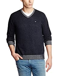 Lee Men's Cotton Sweater (8907222304386_LESW1803_Medium_Navy Melange)