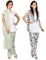 Womens Cottage Combo Pack Of 2 Printed Cotton Semi Patiala & Cotton Dupatta With Lace Set - B01G1GIVXY