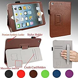 For APPLE iPad MINI 1st, 2nd and 3rd Generation Tablet 7.9-inch Good QUALITY PU LEATHER FOLIO PROTECTIVE SMART CASE, COVER, STAND with MICROFIBER INNER, STYLUS SLOT, Hand Strap and Credit Cards / ID Holders! BROWN.