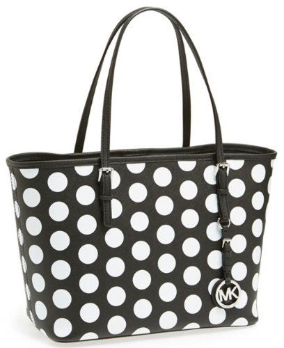 Michael Kors Jet Set Small Travel Dot Tote (Black/White)