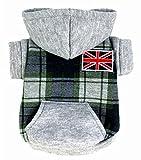 Pet vêtements pour chien chat British Checker Veste en polaire à capuche femme manteau pour petit chien vêtements costumes XS S M L XL...