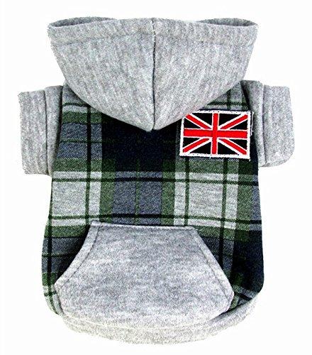 Esingyo Pet Cat Dog Clothes British Checker Fleece Jacket Hooded Coat Small Dog Clothes Costumes Green M