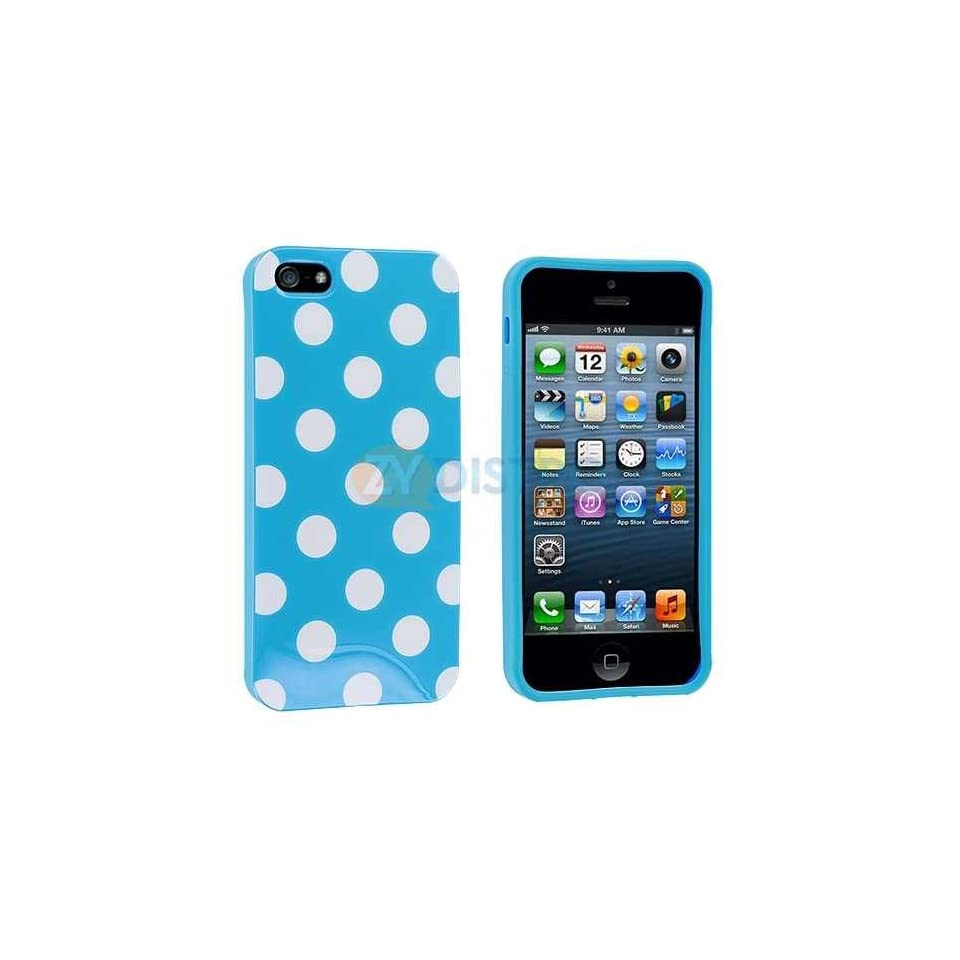 iConic (TM) Sky Blue and White Polka Dots Gel Case for NEW Apple iPhone 5 (5G) and 5S Generation (Sealed in iConic Brand Packaging Only) Lifetime Warranty