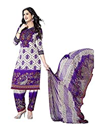 PShopee Purple Synthetic Printed Unstitched Suit Dress Material