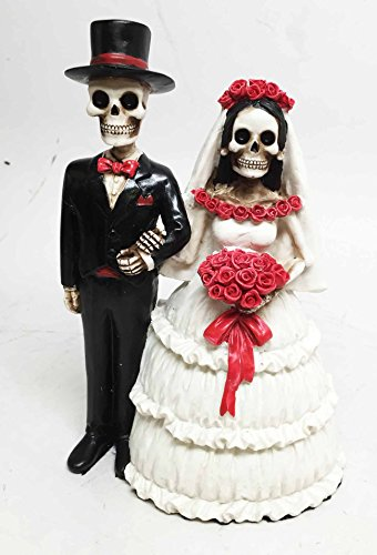 DAY OF THE DEAD CLASSIC WEDDING SKELETON COUPLE STATUE FIGURE DIA DE LOS MUERTOS