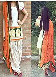 Shree Fashion Woman's Cotton With Dupatta [Shree (19)_White]