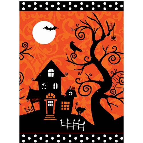 Frightfully Fancy Halloween Plastic Tablecover (Black/Orange) Party Accessory
