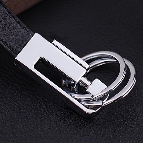 Premium Black Leather Keychain Keyholder