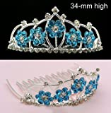 Bridal Heart Flower Girl Blue Crystal Tiara Comb T20