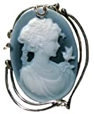 Cameo Brooch Enhancer Lady Bird Natural Agate Stone 925 Sterling Silver Frame Laser Carved Italian