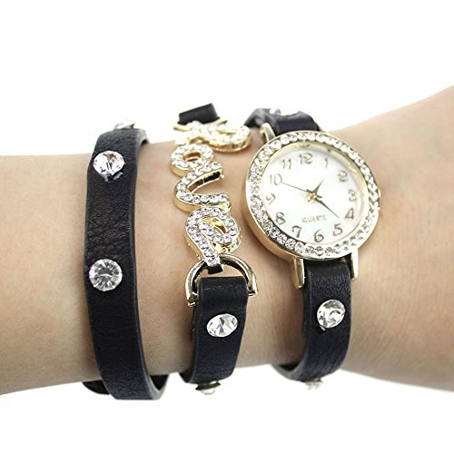 Zps(Tm) Fantastic Love Cz Leather Bracelet Wrist Watch Black