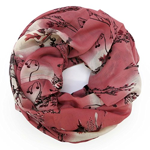 ACCESSU-Echarpe-Foulard-pour-Femme-Birds-and-Branches-Animal-Design-berry