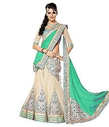 Krishna ECommerce Green Color Embroidered Net::Georgett Lehenga Choli