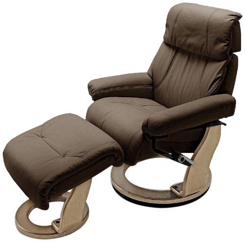 Relaxsessel Winnipeg mit Hocker - Bezug: Leder braun - Gestell: Natur - Maße in B/H/T: ca. 89x90-138x105-115 cm