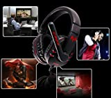 AFUNTA High Quality Genuine Somic Gaming Headset Professional 3.5mm Stereo PC Games Headphone Powerful Bass Earphone with Mic 3.5mm Mic/Earpiece Plug 2.3m Cords + Virtual(not Real) 7.1 Surround Sound Card - Black