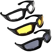 3 Pair Motorcycle Riding Glasses for Half Helmet Assorted by grinderPUNCH