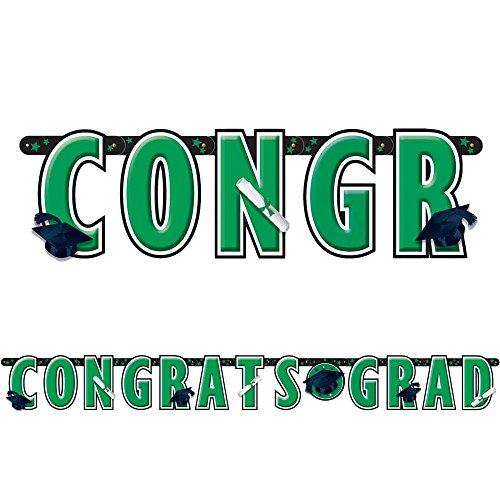 Amscan Giant Letter Banner Congrats Grad Graduation Decoration 10 foot long Green