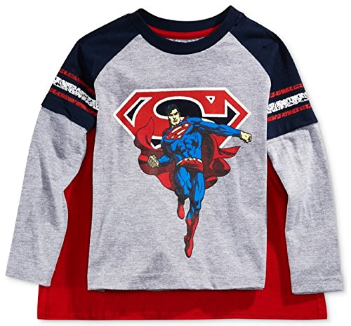 Little Boy Long Sleeve SUPERMAN Layered Look Tee & Removable Cape (2T)