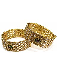 Shingar Jewellery Antique Polki Kundan Gold Plated Screw Open Bangles Set In 2.8 Size For Women (7530-m-2.8-a)...