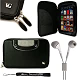 "Black Slim and Durable Professional Portfolio Cover Protective Carrying Case with handles and memory card slots for Pandigital Novel 7"" Color Multimedia White eReader + Includes 4-inch ebigvalue Determination Hand Strap + Crystal Clear High Quality HD Noise Filter Ear buds Earphones Headphones ( 3.5mm Jack )"