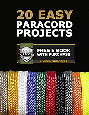 "TITAN MIL-SPEC 550 Paracord / Parachute Cord, 103 Continuous Feet, 620 lb. Breaking Strength - Authentic MIL-C-5040, Type III, 7 Strand, 5/32"" (4mm) Diameter, 100% Nylon Military Survival Cordage. Includes 3 FREE Paracord Project eBooks. from Titan Surviv"