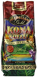 Kona Hawaiian Gold Kona Coffee, Gourmet Blend Ground Coffee, 10 Ounce