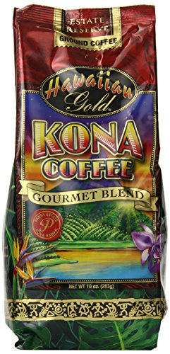 Kona Hawaiian Gold  Kona Coffee, Gourmet Blend Ground Coffee, 10 Ounce (Hawaiian Coffee Kona compare prices)