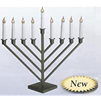 Display Large Size Pewter Finish Electric Menorah
