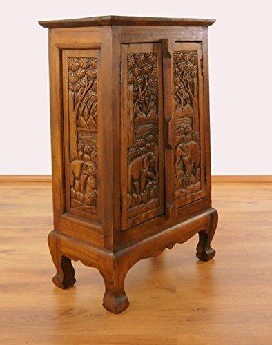 Massivholzschrank, 82 x 50 x 28cm, 10kg, Sideboard Holzelefanten, asiatische Kommode mit Schnitzereien, Schrank aus Thailand, Kolonialstilböbel bzw. Massivholzmöbel in Handarbeit