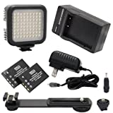 Canon XL-1 Camcorder Lighting 5600K Color Temperature, 72 LED Array Lamp - Digital Photo & Video LED Light Kit - UK Adapter Included