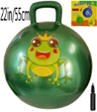 Space Hopper Ball: Green, 22in/55cm Diameter for Ages 10-12, Pump Included (Hop Ball, Kangaroo Bouncer, Hoppity Hop, Sit and Bounce, Jumping Ball)