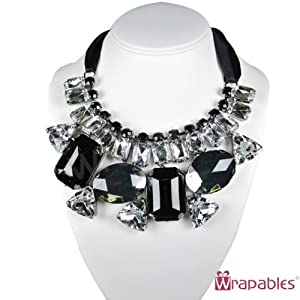 Wrapables Chunky Black and White Jewel Gem Bib Statement Necklace