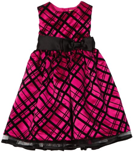 2-6x Girls Flocked Plaid Dress