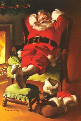 Vintage VICTORIAN CHRISTMAS PRINT Santa by the fireside 250gsm ART CARD Gloss A3 Reproduction Poster