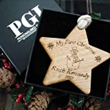 Personalised Babys 1st christmas star, Babys 1st Christmas keepsake, solid oak baby gift, free gift box, 1st xmas bauble