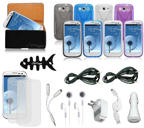 CrazyOnDigital Cases with Charger and Screen Protector For Samsung Galaxy S3 S III (AT&T, T-Mobile, Sprint, Verizon) (16-item)